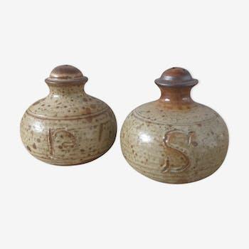 Sandstone salt and pepper shaker