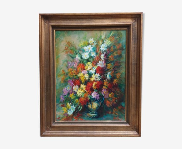 Flower bouquet framed and signed