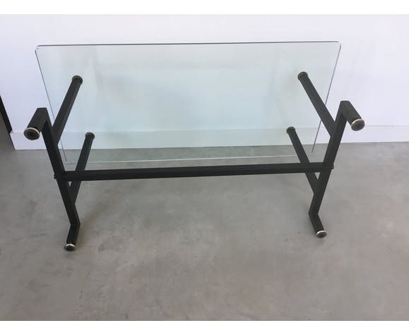 Modernist coffee table, glass tray, 1960