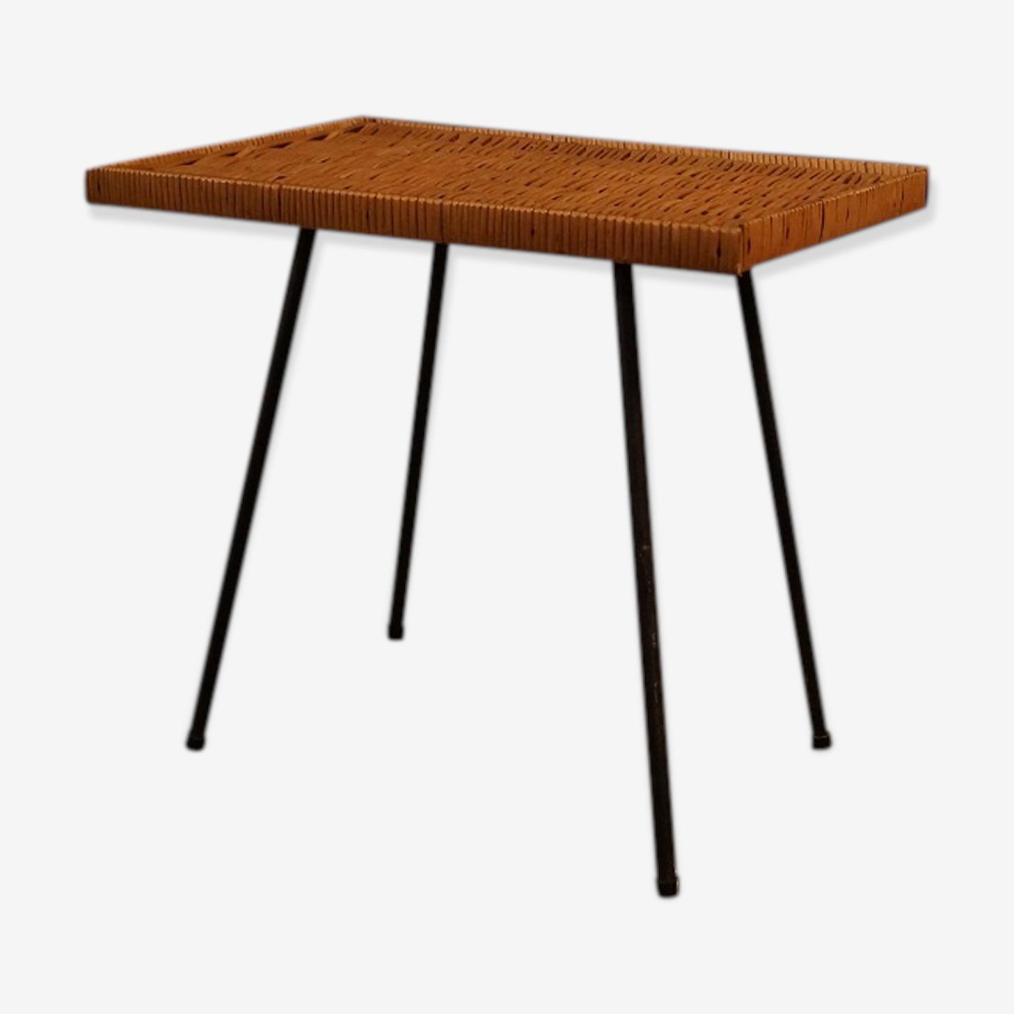 Table en rotin vintage 1960