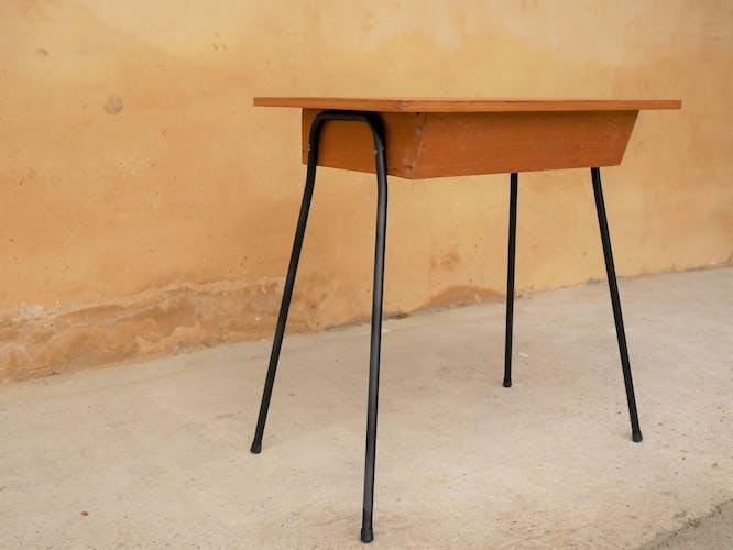 Bureau enfant vintage bois et métal