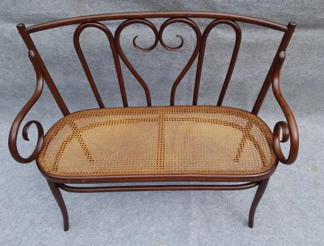 Curved wooden bench 1900