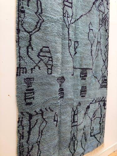 Moroccan Berber carpet Azilal blue grey plum patterned 2,36x1.46m