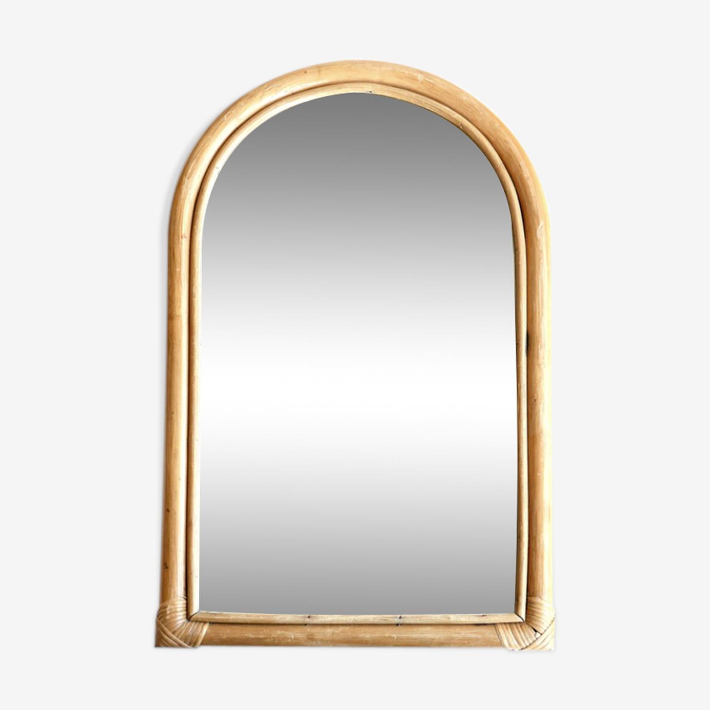 Miroir en bambou, années 70 - 56x34cm