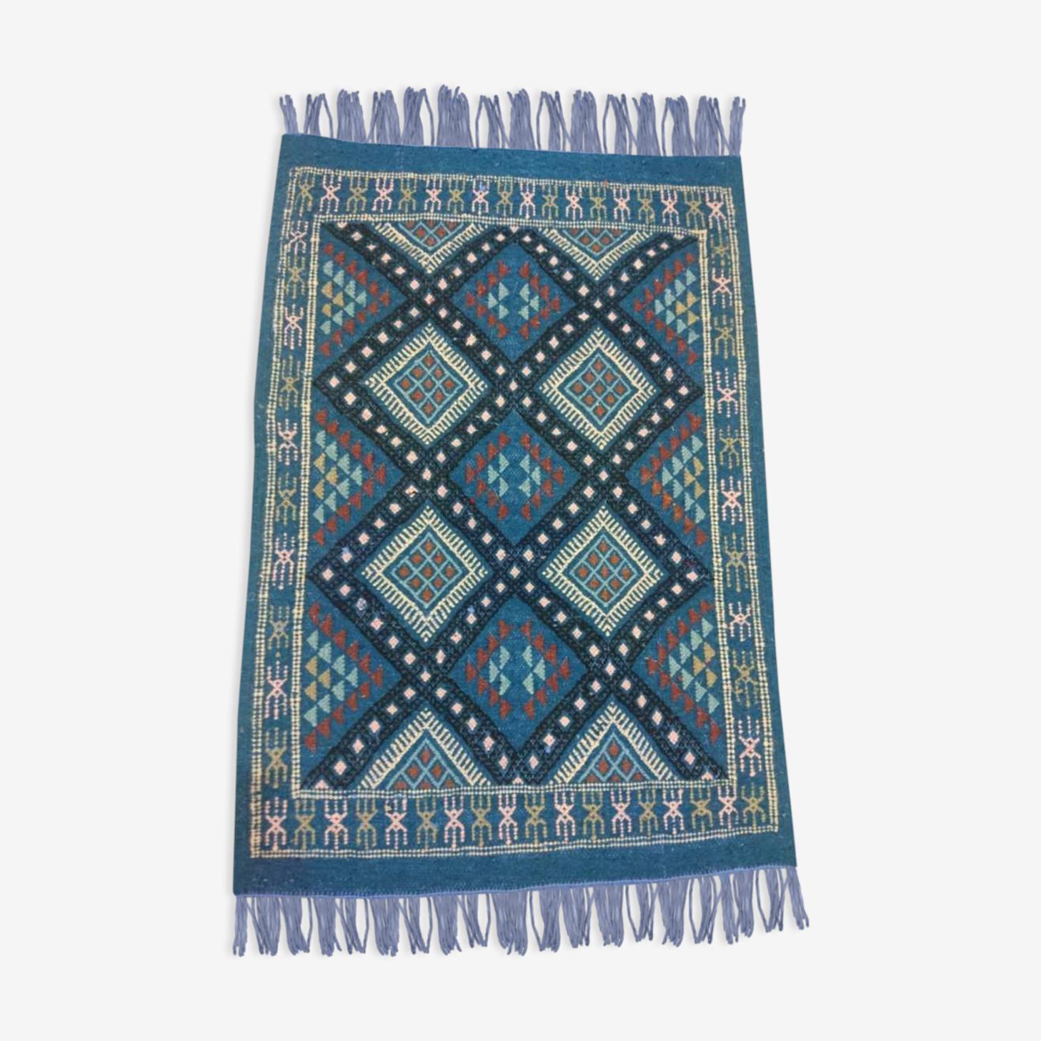 Blue carpet Kilim handmade 58x85cm