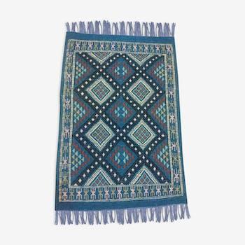 Kilim tapis bleu fait à la main en laine 58x85cm