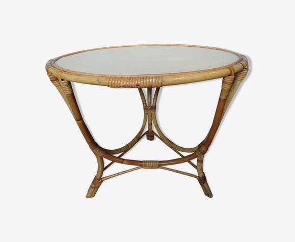 Table basse ronde vintage en osier