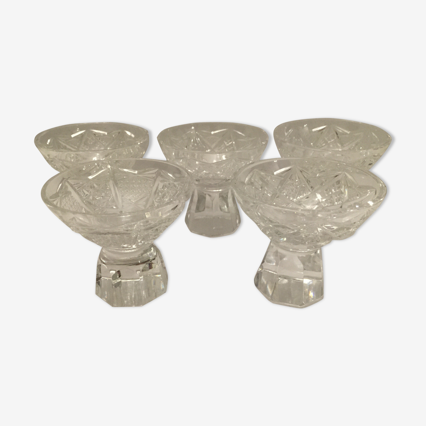 5 alcohol cut crystal glass set