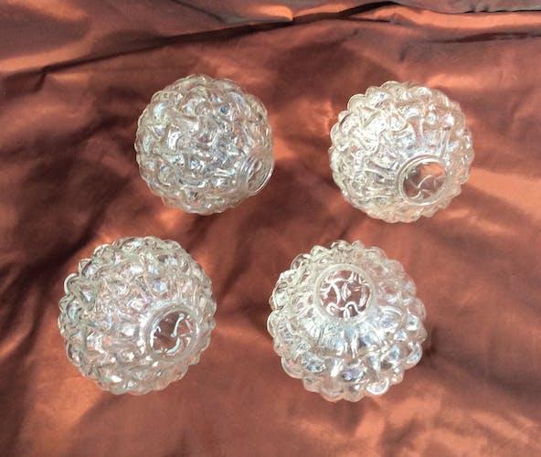 Lot 4 globe tulipes en verres pressés