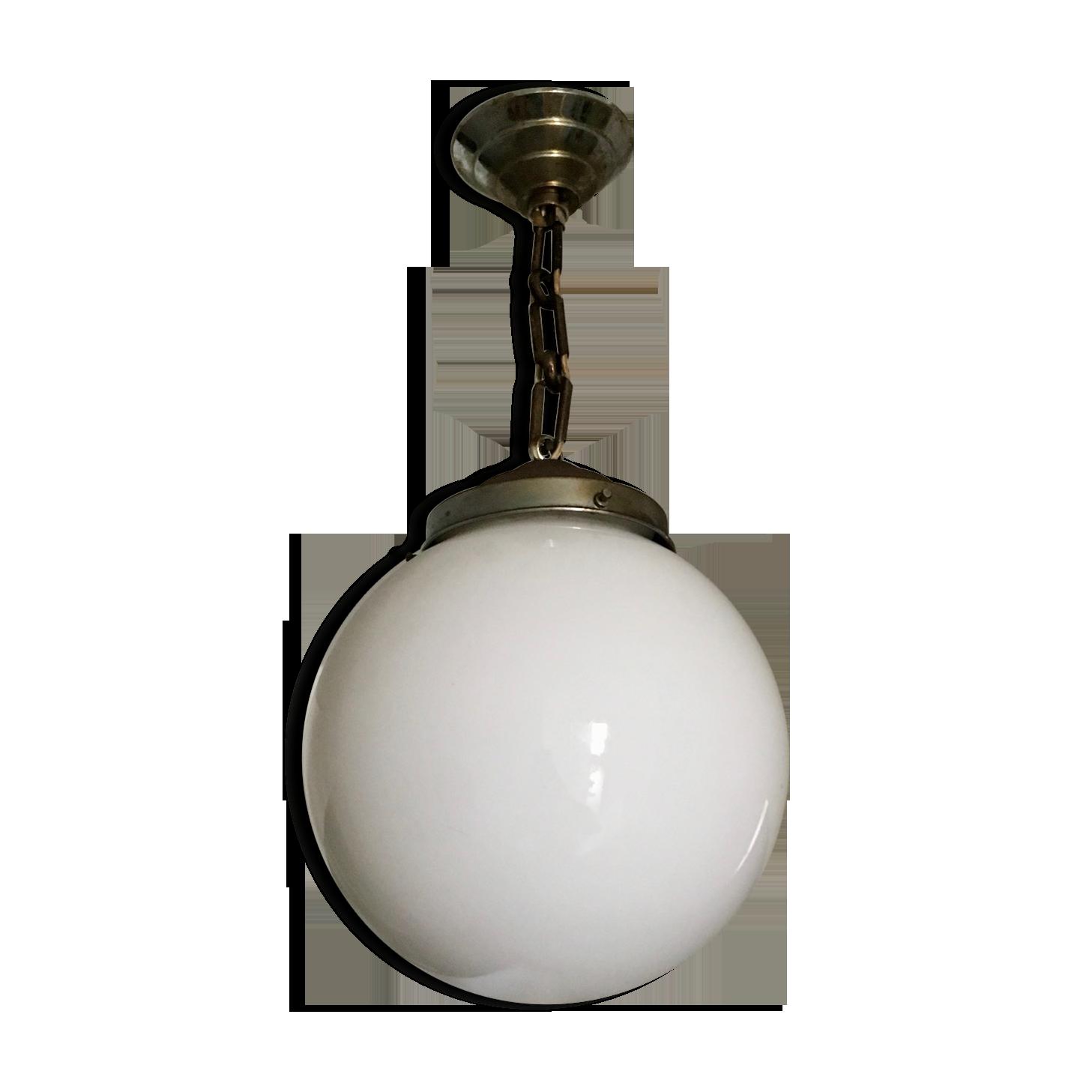 Antiques Antique Globe Opaline White For Suspension Chandelier