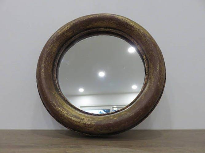 Miroir rond en bois doré années 40/50 19 x 19 cm