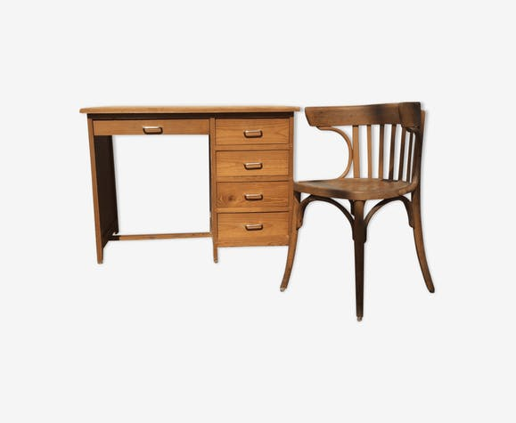 Vintage blond wood desk and armchair years 50