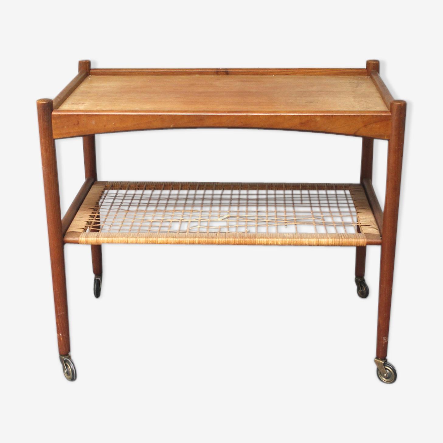 Table basse sur roulette scandinave des années 60