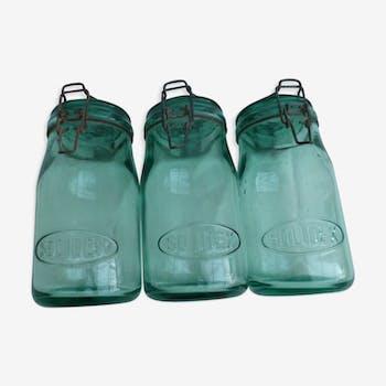Ensemble de 3 bocaux en verre soufflet moulé