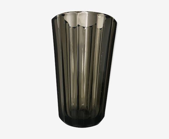 Vase scandinave verre fumé
