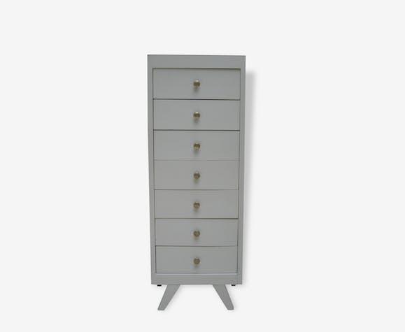 chiffonnier semainier vintage ann es 50 bois mat riau gris vintage 93070. Black Bedroom Furniture Sets. Home Design Ideas