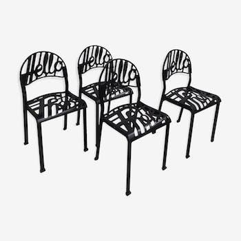 """Ensemble de 4 chaises Jeremy Harvey """"Hello There"""""""