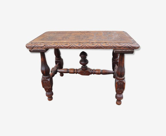 Table carved wood style Shepherd, dated 1881
