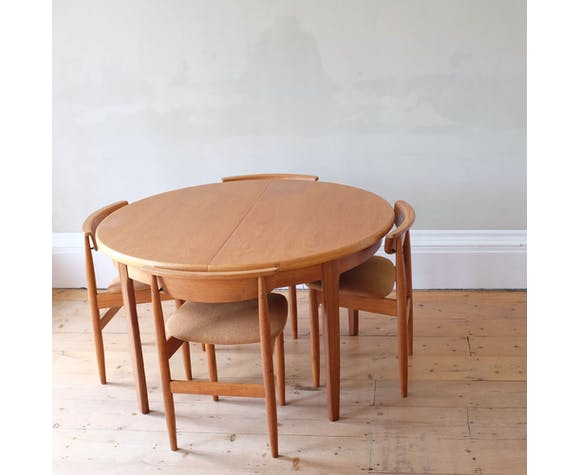 Table et chaises d'extension de mi-siècle