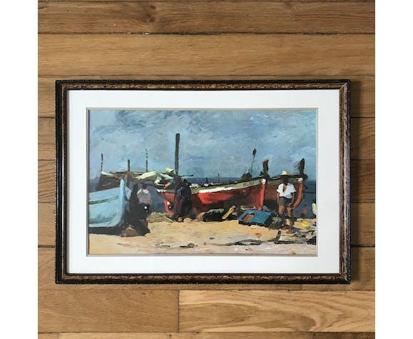 Tableau bateaux et pêcheurs