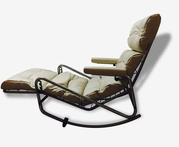 Chaise Longue Rocking Chair Cuir Blanc Design 50420