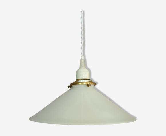 Suspension en opaline blanche conique | Selency