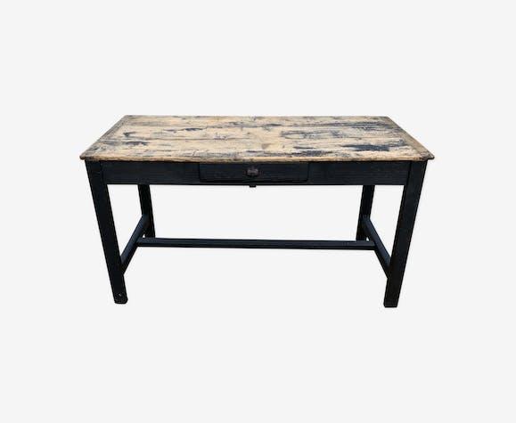 Table de ferme en bois noir