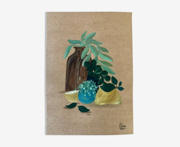 Bouteille et citrons