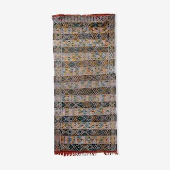 Tapis vintage tunisien tissage à plat kilim fait main 79 x 187 cm 1950