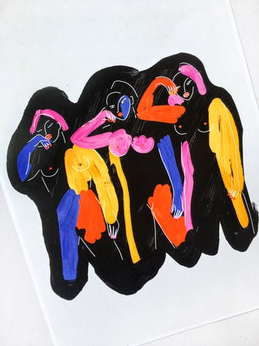 Three Black Woman-29 x 42 cm