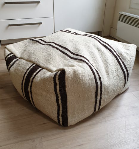 Beige brown Moroccan pouf cover