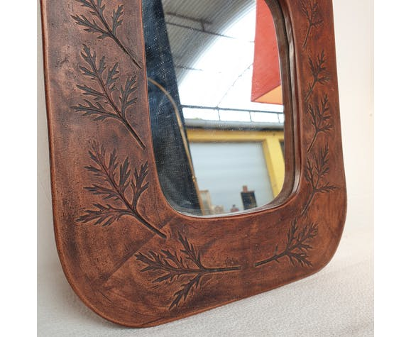 Miroir ceramique Vallauris azais 1967 29x34cm