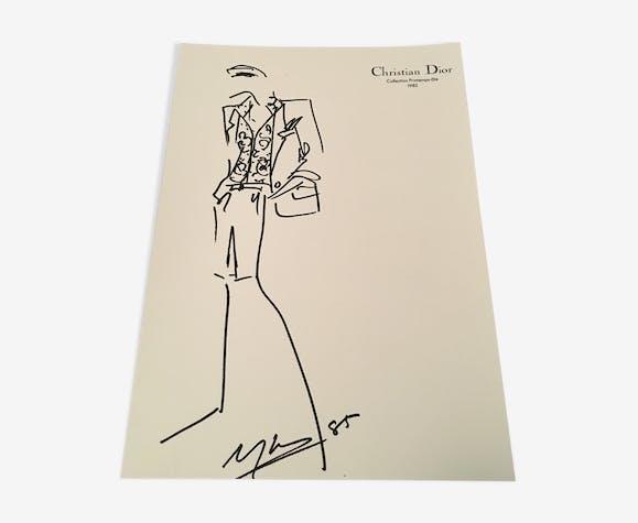 Illustration de mode et photographie vintage originale de presse Christian Dior  fin des années 80
