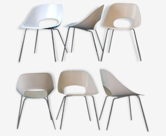 set of 6 chairs tulip pierre guariche 1950 fiberglass white