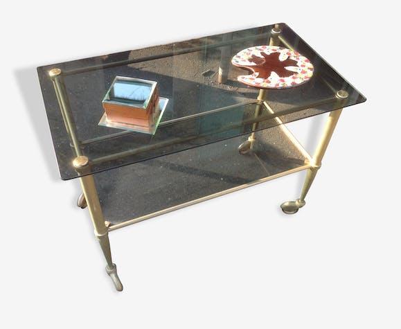 table basse a roulettes en verre ann es 70 verre et cristal dor vintage 13732. Black Bedroom Furniture Sets. Home Design Ideas