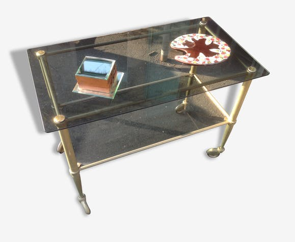 table basse a roulettes en verre ann es 70 verre et. Black Bedroom Furniture Sets. Home Design Ideas