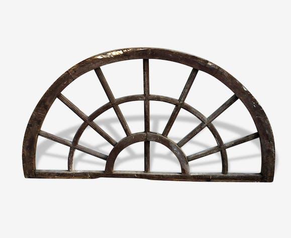 Ancienne Fenêtre Demi Lune Wood Brown Vintage 17048