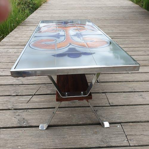 Table basse carrelee design 1960 signée