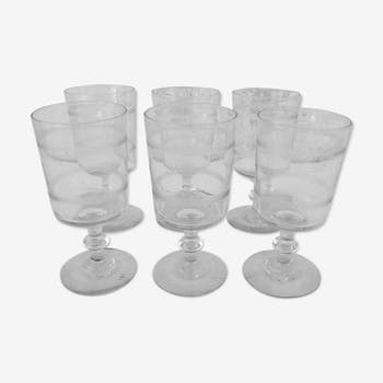 Set of 6 old glass in serious Crystal