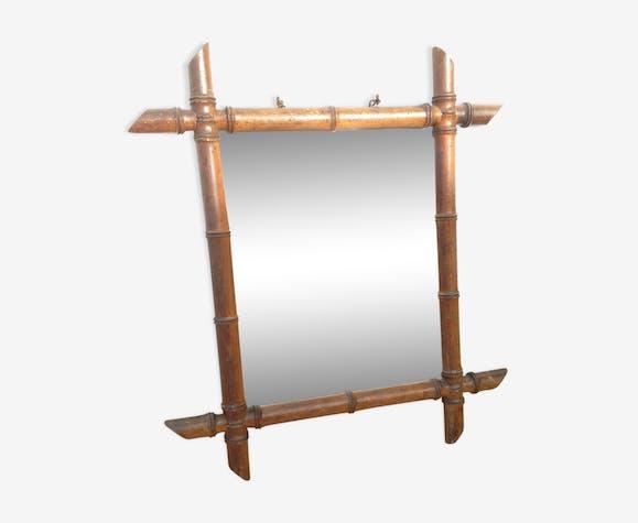 Miroir bambou glace salle de bain original vintage bois mat riau bois couleur vintage - Glace de salle de bain ...