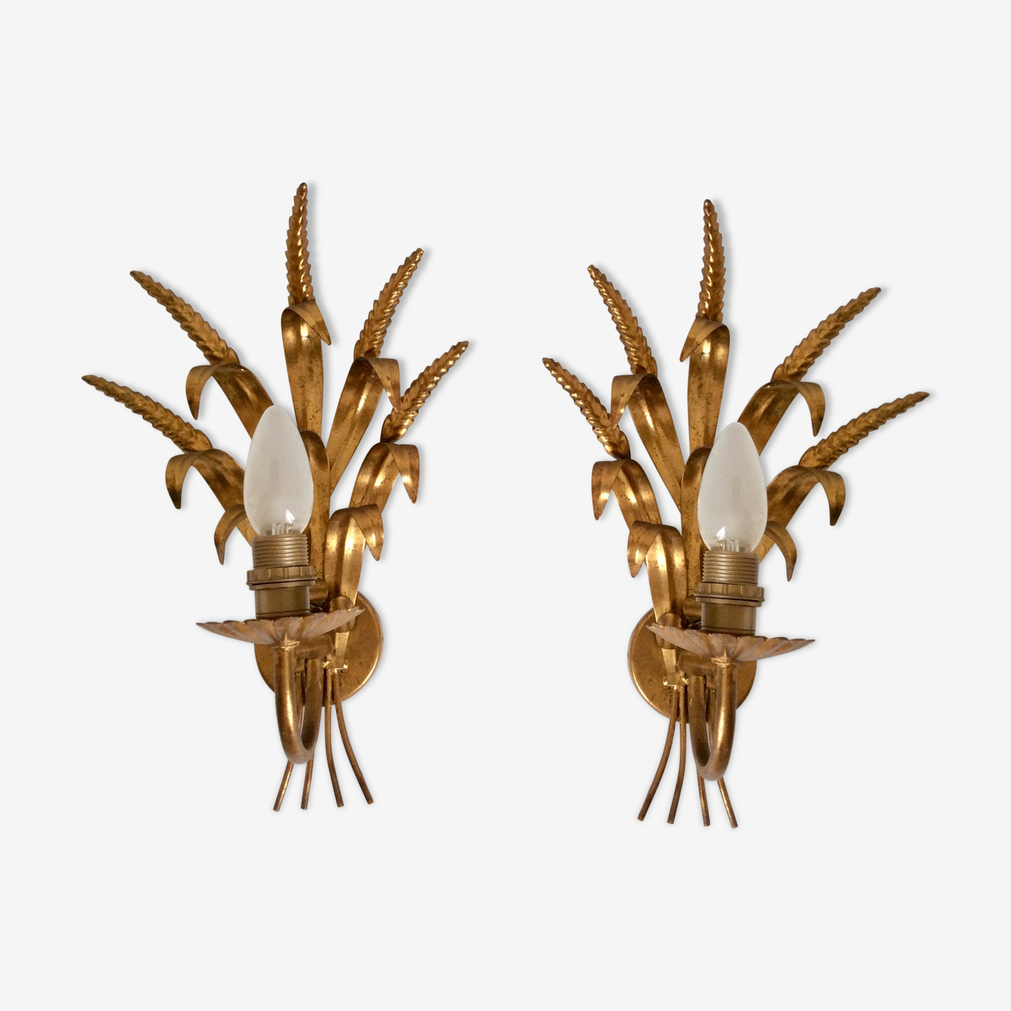 Pair of golden wall, leaves and cobs, 60s/70s