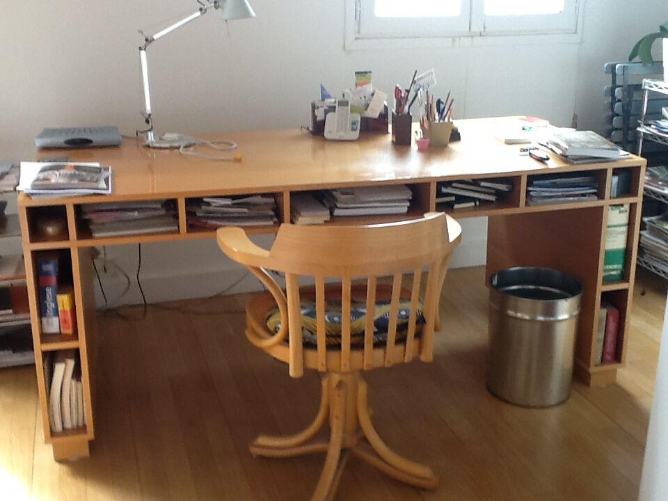 Superbe bureau habitat beckett grand brun cuir bois s