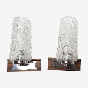 Paire d'appliques des années 60 chromes et imitation bois