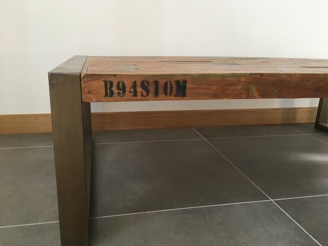 Industrial coffee table made of wood and metal