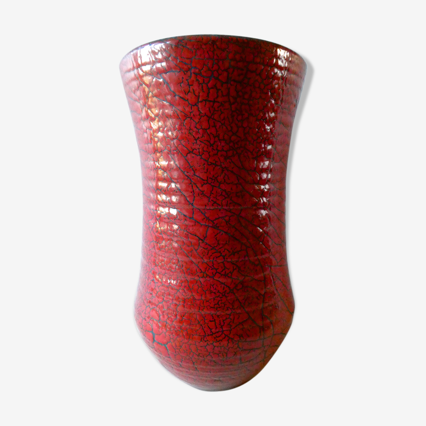 Vase ceramic cracked red Accolay in the 1960