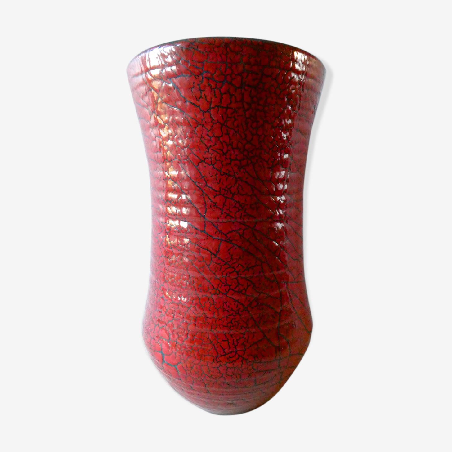 Vase en céramique craquelée rouge Accolay des années 60