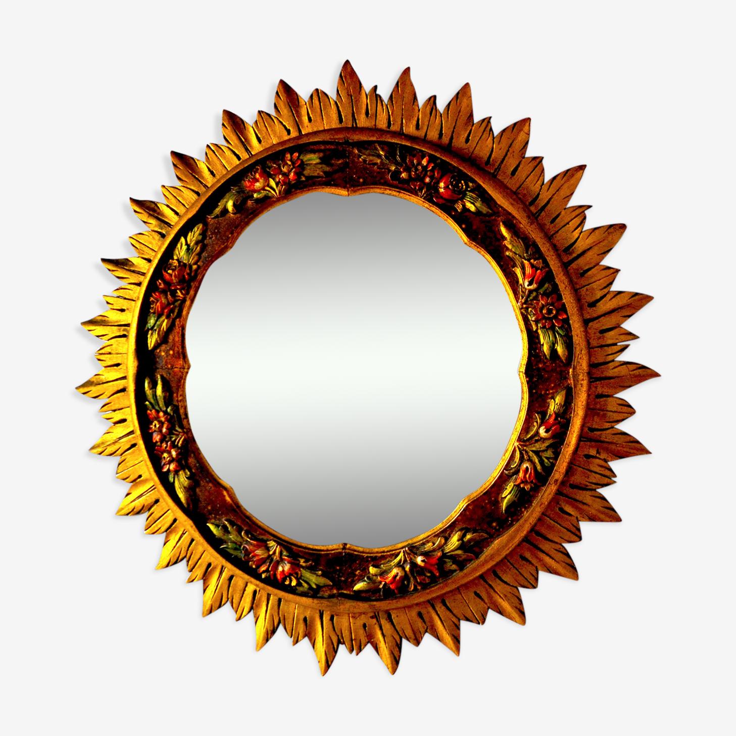 Miroir soleil en bois doré 60's 70cm