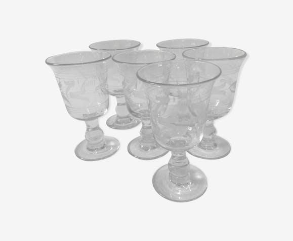 Set de 6 verres gravés soufflés