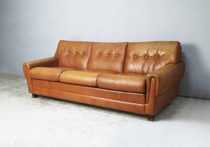 Danish mid century leather 3 seater sofa from the 1960s