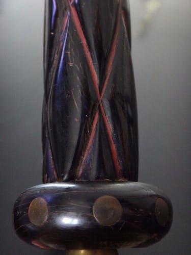 Bougeoir corne bois et laiton art déco 26cm vers 1930